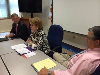 From left to right: Acting Superintendent Dr. Bryan Luizzi, College Career Coach Dede Bartlett,  First Selectman Rob Mallozzi III discuss the problem of sexual assault on college campuses.