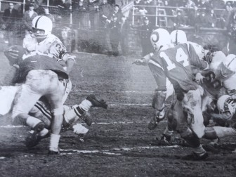 Jeff Caldwell (14) in action against (he thinks) Danbury, during his senior year at NCHS, in the fall of 1968.