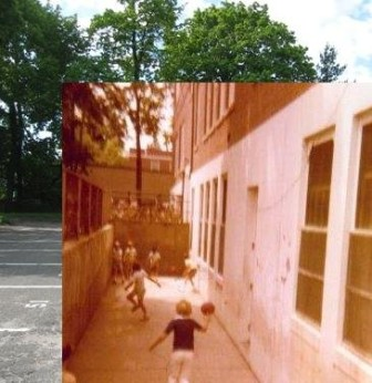 The Knockout Pit superimposed on a present-day photo of the Center School Parking Lot. Inset courtesy of Karen Corker Malner. Composed by Terry Dinan.