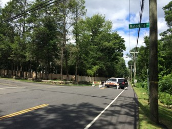 Weed Street above Wahackme is closed Friday until further notice, after a car struck a pole on Weed near Sunset Hill, police say. Credit: Michael Dinan