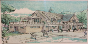 A rendering of the proposed, expanded pavilion at the New Canaan Field Club, from PH Architects of Newtown.