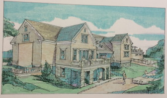 This is the south elevation of the proposed, expanded pavilion at the New Canaan Field Club, from PH Architects of Newtown.