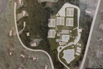 P&Z Commissioners and neighbors at the Aug. 26 public hearing for the New Canaan Field Club's proposed pavilion expansion received this aerial look at the club's facilities and their relation to neighboring properties.
