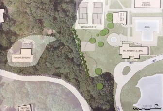 This aerial and diagram shows some of the additional screening that's been proposed as part of the New Canaan Field Club's application to expand its pavilion.