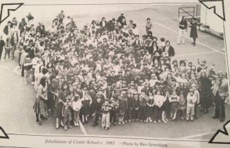 Photo taken from Center School, looking down on students, teachers and faculty, just prior to the end of the 1983 school year, by Bev Greenberg. Courtesy of the New Canaan Historical Society.