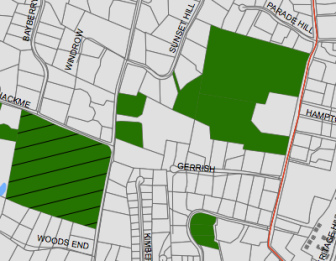 """Detail of the """"Classified Open Space"""" map from the South Western Regional Planning Agency (http://bit.ly/1nQG3dO). The striped property on the left is Irwin. Catty-corner are two pieces of open space, the northern one of which is just about 425 feet from the corner of the shoehorn-shaped property, which is comprised of both New Canaan Land Trust and New Canaan Nature Center property. Credit: SWRPA"""