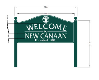 This 'Welcome to New Canaan' sign soon are expected to grace the northwest corners of South Avenue at Gerdes Road and New Norwalk Road at Carter Street. The wood signs are DOT-approved (they'll sit within the right-of-way on state roads) and, depending on feedback from locals, town officials will seek a spot along Route 106 off of the Merritt's exit 36 for a third sign. Image courtesy of the Town of New Canaan.