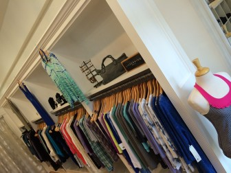 Built-in racks at Jade at 7 Elm St. The shop opened this week. Credit: Michael Dinan