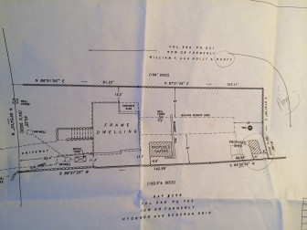"""The proposed plan for the shed and pergola—marked here as a """"gazebo,"""" which it is not—for 51 Weed St."""