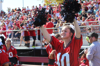 Cheerleaders had much to celebrate on Saturday. Credit: Terry Dinan