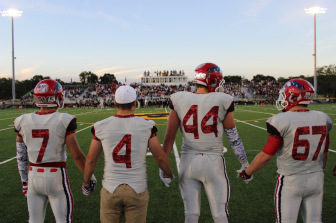 2014 New Canaan Rams Football Captains (l-r) Alex LaPolice, Framk Cognetta, Zach Allen, Jim Keneally. Credit: Terry Dinan
