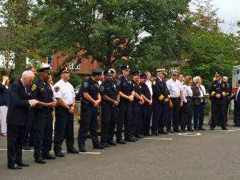 Attendees at the Sept. 11, 2014 memorial ceremony at NCPD. Credit: Michael Dinan