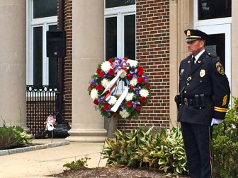 Capt. Vincent DeMaio of the New Canaan Police Department at the Sept. 11, 2014 9/11 memorial ceremony. Credit: Michael Dinan