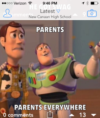 """One screenshot from a busy night on the Streetchat feed assigned to """"New Canaan High School"""" on Sept. 29-30, 2014."""