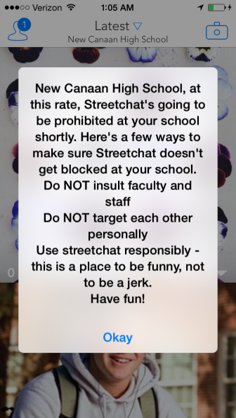 "One screenshot from a busy night on the Streetchat feed assigned to ""New Canaan High School"" on Sept. 29-30, 2014."
