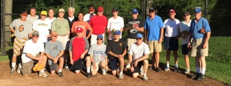 The Michno Marauders and Richey Recidivists gather at St. Luke's on Sept. 7 for a fun annual softball game. None of these guys suffered injuries this year, and Kilbride even cranked a home run. Contributed photo