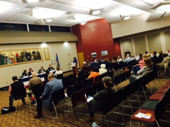 """Oct. 21, 2014 """"Meet the Candidates"""" forum, hosted by the League of Women Voters of New Canaan, held in the Wagner Room at New Canaan High School. Credit: Michael Dinan"""