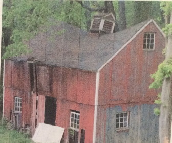 The Larsons' barn suffered structural damage last winter. Contributed photo