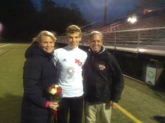 Whitney Williams, senior tri-captain Chase Williams and Nick Williams at the varsity NCHS Rams Soccer Team's Senior Night at Dunning Field, Oct. 22, 2014. Credit: Michael Dinan
