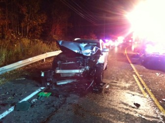 A vehicle involved in the 4-car accident on Silvermine Road in New Canaan on Oct. 30, 2014.