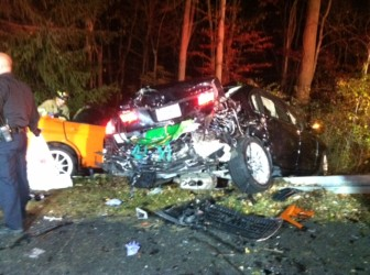 One motor vehicle involved in the 4-car accident on Silvermine Road in New Canaan on the evening of Oct. 30, 2014.