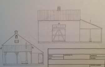 Renderings of the planned, restored barn of the Larsons of Ponus Ridge.