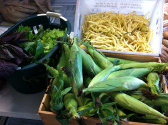 Recent contributions to the New Canaan Food Pantry from the farmers market. Contributed photo