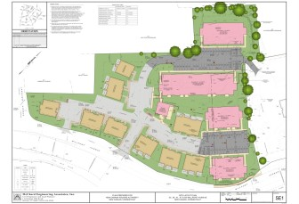 """Site plan for Millport Avenue rebuild. The pink areas at the bottom-right are """"Phase One"""" of the project, where 33 units are now being built. Phase Two of the project, located in the two pink-colored areas at the top, calls for 18 units to be razed and 55 installed. Photo courtesy of Jonathan Rose Companies"""