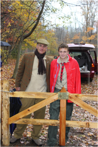 Left: Chris Schipper, president of the New Canaan Land Trust and Joseph Peiser, Eagle Scout candidate, Troop 70, New Canaan at the entrance to the Colhoun Parcel;  November 1, 2014. Contributed photo