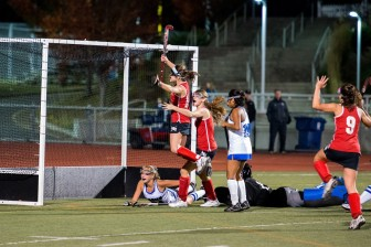 Isabel Taben celebrates her goal against Darien in the FCIAC championship. Credit: Stacy Mettler