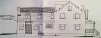 Here's a look at the southern side of the proposed second floor on an addition out back of the home at 52 Hoyt St. A single-story addition already is in place, following a 1987 expansion, and you can make out the existing roofline on the addition in its dotted lines in this rendering. Plans by Newtown-based Cartelli Designs LLC