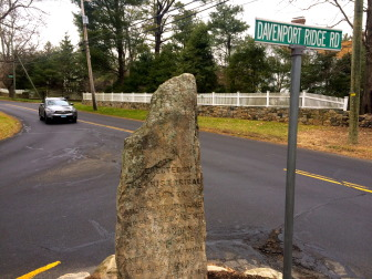 This granite monolith, dedicated Oct. 10, 1897 by the New Canaan Historical Society, marks the traditional tomb of Ponus, sachem of the Rippowams. A New Canaan motorist says it obstructs sightlines. Credit: Michael Dinan
