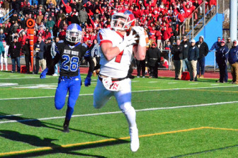 Senior Co-Captain Alex LaPolice caught the game-winning pass in the fourth quarter of the CIAC Class L Large final vs. Darien on Dec. 13, 2014. Credit: Ronnie Roganti