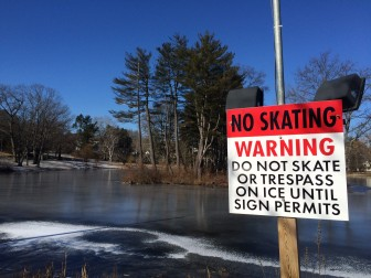 It's been three years since the ice on Mead Pond was thick enough to skate. Is this the end of a beloved New England tradition in town? Credit: Michael Dinan