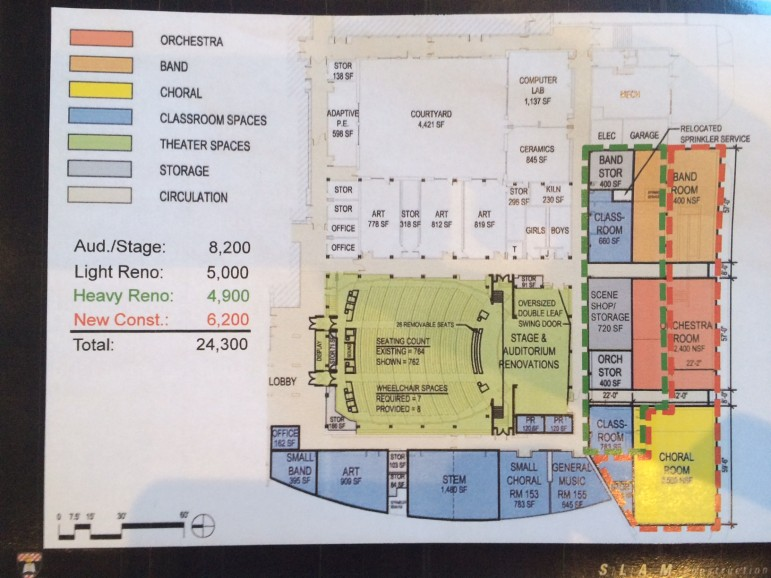 The area outlined in red here shows a proposed expansion to the footprint of Saxe Middle School on its south side in front. Rendering from the SLAM Collaborative of Glastonbury, owner's rep on a project to renovate the Saxe auditorium.