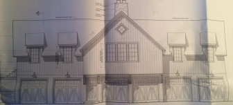 This single family dwelling and multi-car parking garage is planned for the development at Jelliff Mill. It will cost $450,000 to build, according to a building permit application. Specs by New Canaan-based Judith Larson Associates.