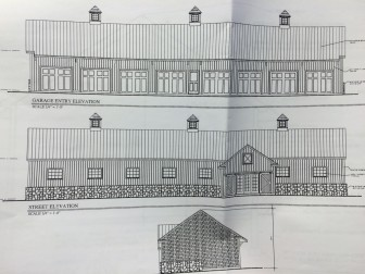 The proposed 8-bay garage for the owners of 43 Lone Tree Farm Road.