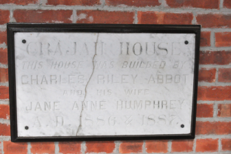 The marble plaque at Crajah House. Debbie McQuilkin photo