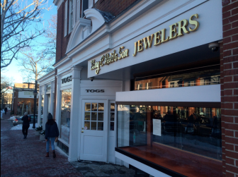 The space at 72 Elm St. has been occupied for 14 years by Henry C. Reid & Son Jewelers, now consolidated in Fairfield. Credit: Michael Dinan