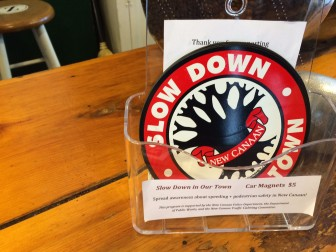 'Slow Down In Our Town' magnets are being sold, presently, at Zumbach's, Baskin-Robbins and the library. Credit: Michael Dinan