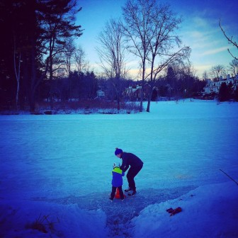 Ice skating opens at Mead Pond on Feb. 18, 2015. Here's New Canaanite Emily Basaran with her young son Henry. Photo courtesy of  Emily Basaran