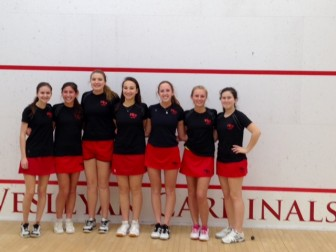 New Canaan High School girls squash team, 2014-15. Contributed