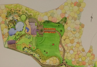 Here's a landscape architect's rendering of the original site plan for 384 and 386 Weed St. The pond at the property's western end will require the removal of hundreds of mature trees. Courtesy of Sean Keating of Stamford-based TLC Lawn and Landscaping Service