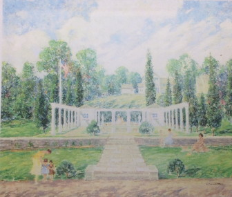 """One of five scenes of Mead Park by Ernest Maxwell Albert Jr., each 24.75x30"""" and commissioned through the WPA arts projects in the mid-1930s, using a common palette of greens, blues, white and other pastel shades depicting early summer mid-afternoon scenes. Courtesy of the New Canaan Department of Public Works"""