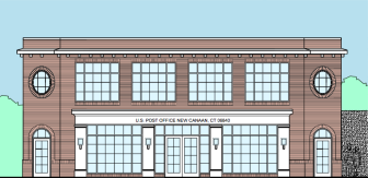 One rendering of a possible Post Office building at 121 Park St. in New Canaan. Specs by Harvey Kaufman Architect PC of New Canaan