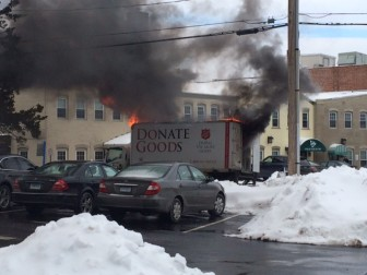 This truck's cab caught fire and was noticed at about 12 p.m. on Feb. 5, 2015, as it idled at a light on East Avenue. Credit: John Walsh