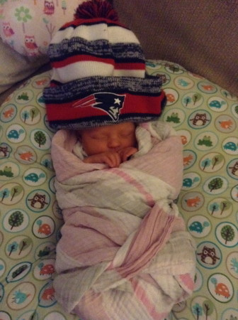 Baby Evangeline has been born into the heart of New England Patriots territory.