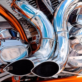 'Double Trouble,' a painting by Alan Gorman, will be featured as part of the 'Va Va Vroom! The Art of the Vehicle' exhibition, opening April 19 at Carriage Barn Arts Center.