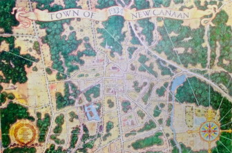 """Oil on canvas birdseye view of New Canaan, 1934, 78x115"""" by Walter Bradnee Kirby, American artist and architect, New Canaan 1885 to 1972. Painting restored professionally in 1997. Kirby produced a second, similar painting showing New Canaan in 1834."""