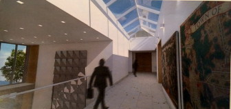 A look at how two prominent WPA paintings that long hung in the meeting room at Town Hall may be displayed at the new facility. The paintings in fact will be about another foot off of the ground and encased and possibly behind a protective glass. (The tiled piece shown on the left is designed to show scale, it's not actually art work.) Rendering by KSQ Architects